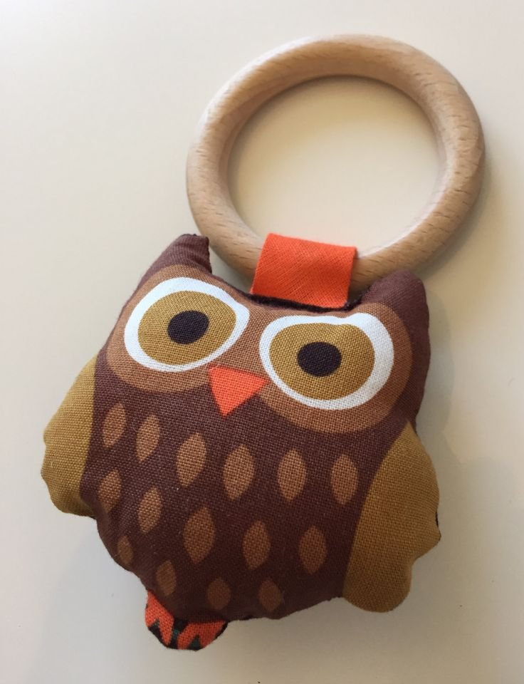 Owl teething and rattle toy. Hand made