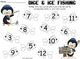 Penguin addition game, roll dice and fill in to make an equation on a fish Young & Lively Kindergarten
