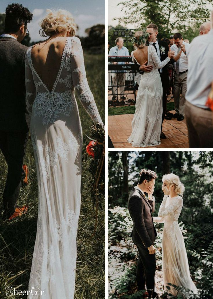 Long sleeve lace wedding dresses. Rustic sheath wedding dress. #weddingdresses #…