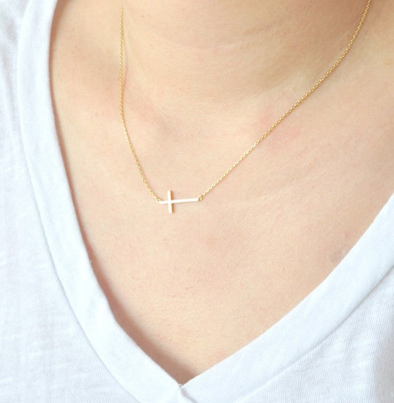 Gold Sideways Cross Necklace Sideways Necklace Cross by matoto, $13.50