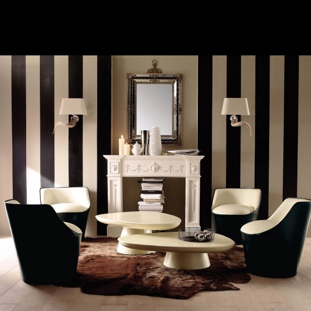 WOW Posh Balck And White Living Room With A Fabulous Striped Wall Design Get This Look WallPops Black Jack Stripes Occasional Chair 05556