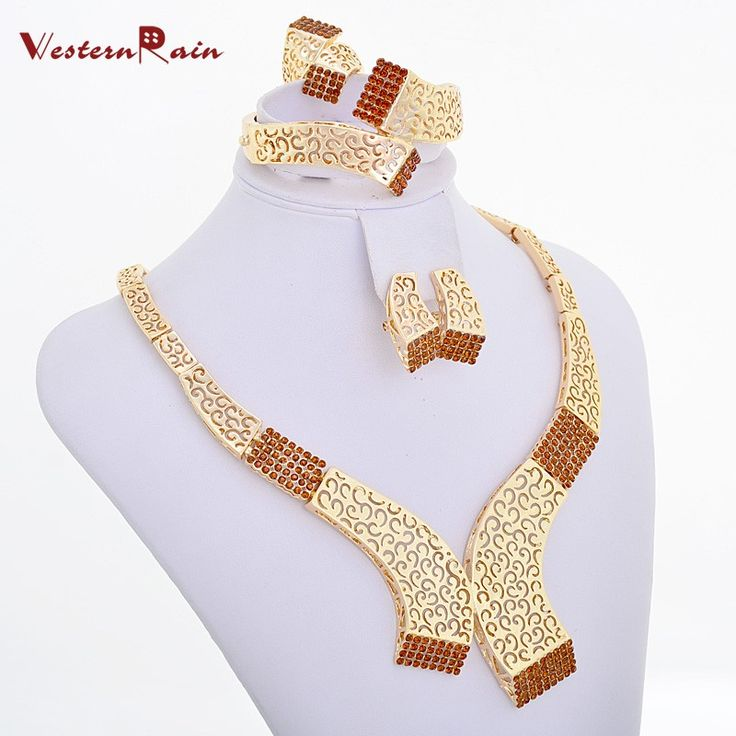 WesternRain Brown Rhinestone Charm Women Beauty Gold Plated #African #Jewelry Sets $14.90