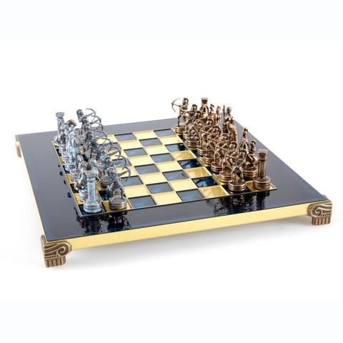 Handcrafted Metallic Chess - Chess Set - Archers (Small) - Blue/Bronze