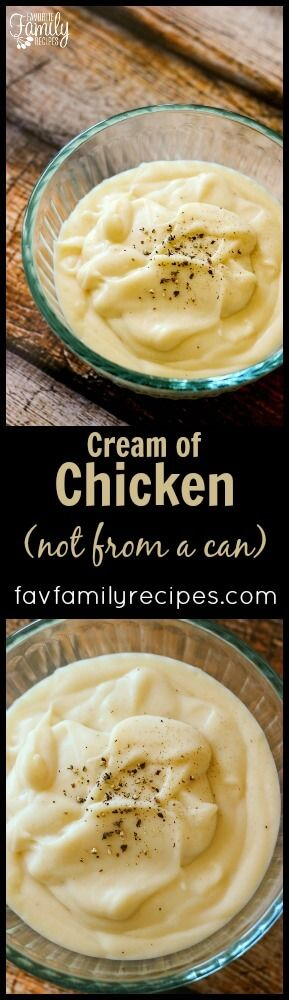 Condensed Cream of Chicken Soup Substitute recipe works great as a soup starter or in recipes that call for a can of condensed cream soup as a base. via @favfamilyrecipz