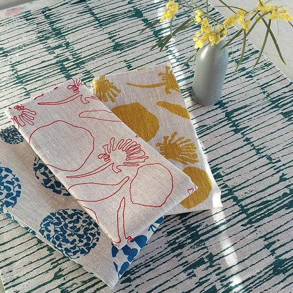 100% Linen Hand Printed Tea Towel/Kitchen Towel by FemkeTextiles