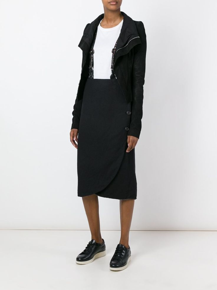 black pencil skirt with braces button on braces for