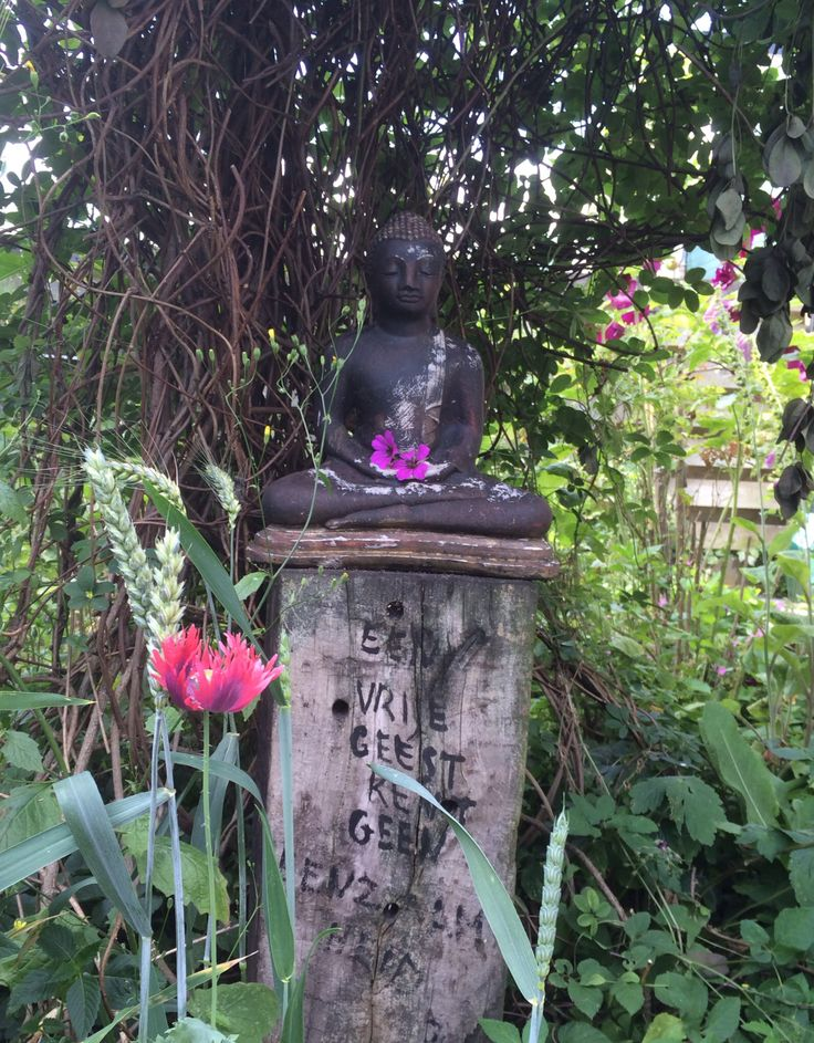 Een vrije geest kent geen eenzaamheid! Buddha op balk met tekst door en in de tuin van Joop