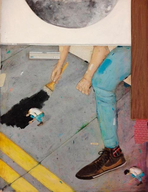 Bruno Kurru   inadequação ao sistema  2012  acrílica e resina sobre tela  110 x 80 cm