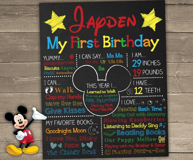 Mickey Mouse First Birthday Chalkboard, Mickey Mouse Chalkboard Sign, 1st…