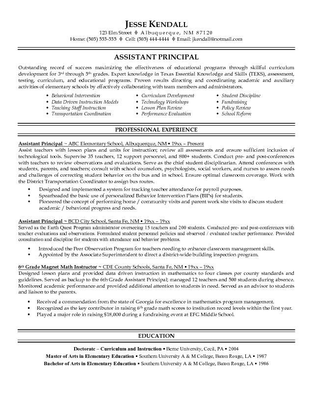 sample assistant principal resume Yahoo Image Search