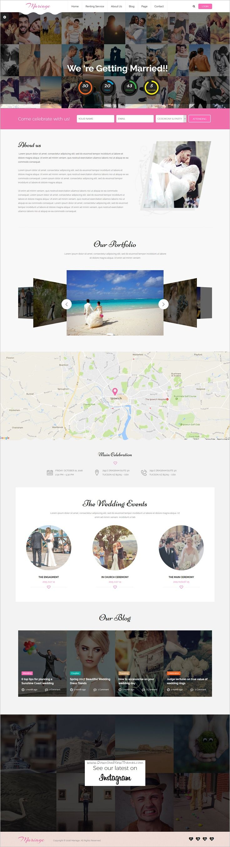 Mariage is a clean and modern design #responsive 5in1 #WordPress theme for stunning #wedding events website download now➩   https://themeforest.net/item/mariage-business-wedding-wordpress-theme/17937630?ref=Datasata