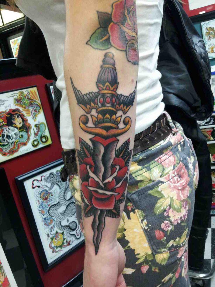 Dagger done by Rick at Element Tattoo, San Antonio, TX