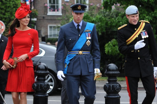 The Duke and Duchess of Cambridge and Prince Harry, prepare to board the Spirit of Chartwell where they joined the Queen for the Diamond Jubilee Pageant on the River Thames in London, 3 June 2012.