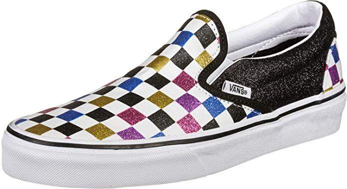 Vans Classic Slip ON Schuhe Glitter Damen Bunt Kariert