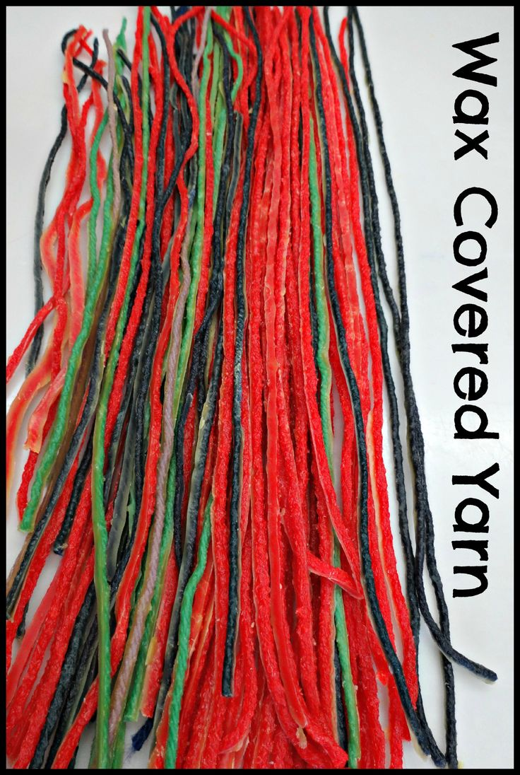 DIY wax covered yarn. Great for multi-sensory activities!