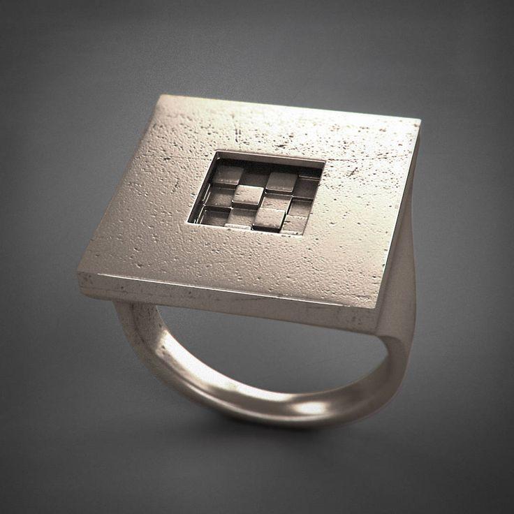 Square Ring - Introverso - acciaio/argento/titanio di Printmyjewel su Etsy #printmyjewel @printmyjewel