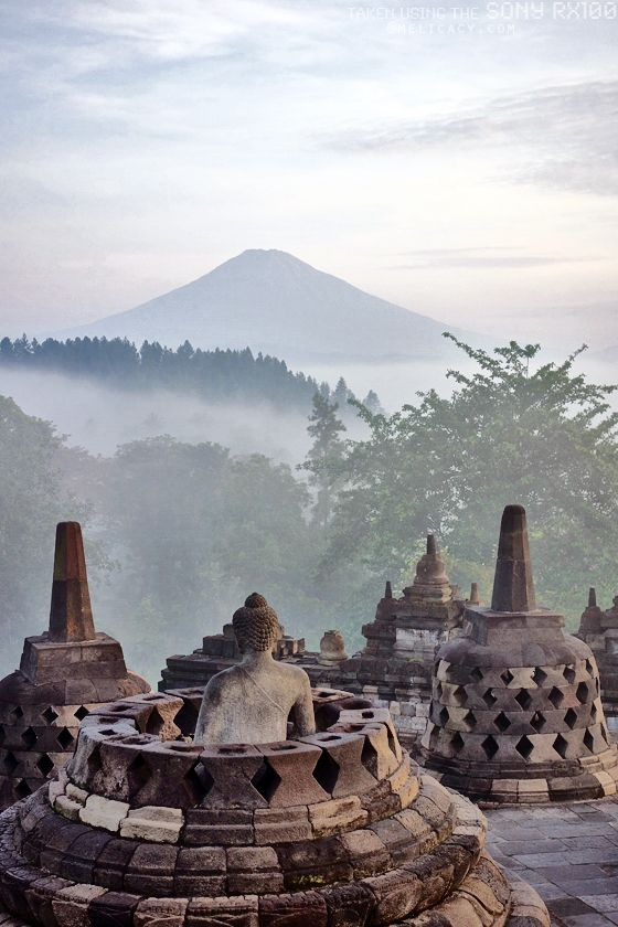 The ancient city of Yogyakarta in Indonesia is dotted with Buddhist temples and many other historical sites. Borobudur.