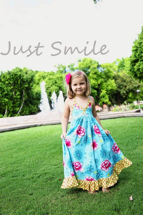 Instant Download- Long Halter Dress Maxi Dress PDF Pattern Girls Size 2T-7 Sewing Pattern Tutorial E Book