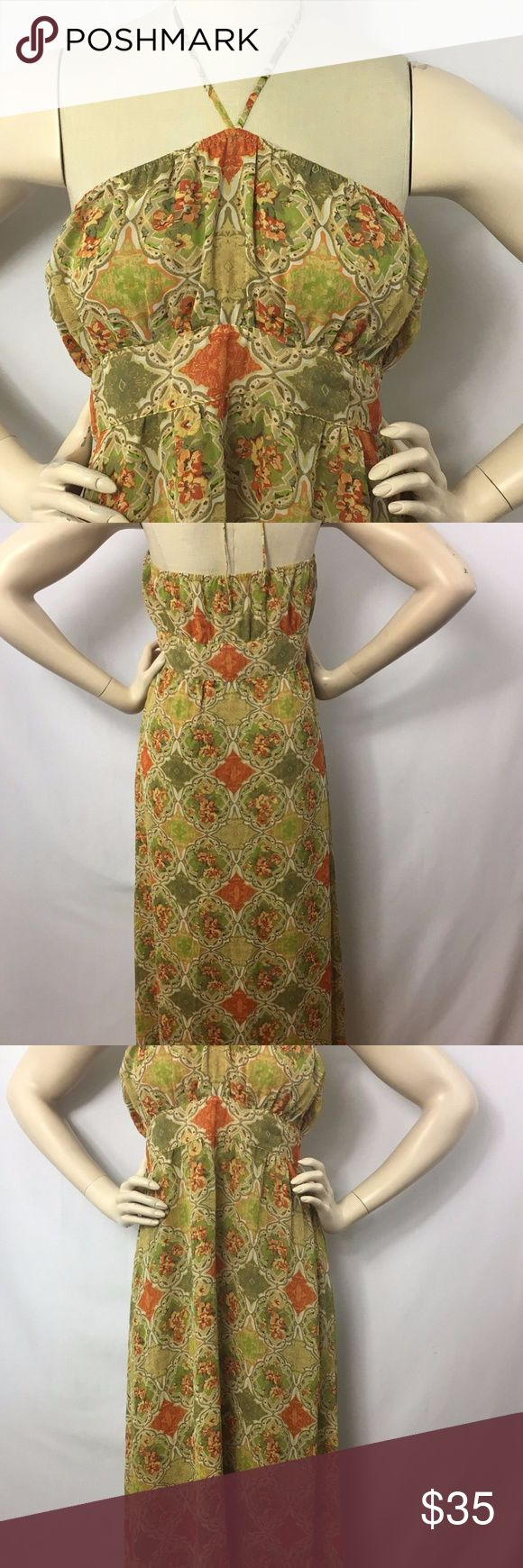 Banana Republic Maxi Dress Size 12 Tan Floral Brand Banana Republic  Size 12 Color tan, green and orange Lined yes Fabric 100% silk Length full length maxi  Neckline halter top Pattern geometric with flowers Side invisible zipper Empire waist   Condition Used: no stains or holes  Measurements   Previously owned items may have been altered. Please refer to the following measurements to insure a proper fit. All measurements are taken with the item lying flat. Armpit to armpit 16 1/2 inches…