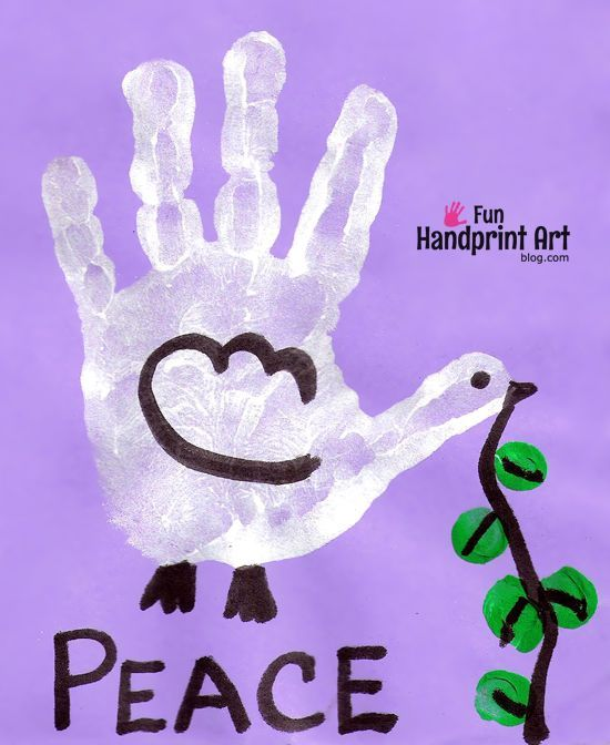 This Handprint Dove is a great craft to make for the International Day of Peace (September 21st), World Peace Day (November 17th),as well as Martin Luther King Day.