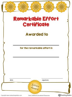 Certificate Awards Remarkable Effort Certificate in Color