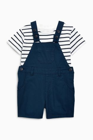 Buy Navy Short Leg Dungarees With Stripe Tee (3mths-6yrs) from the Next UK online shop