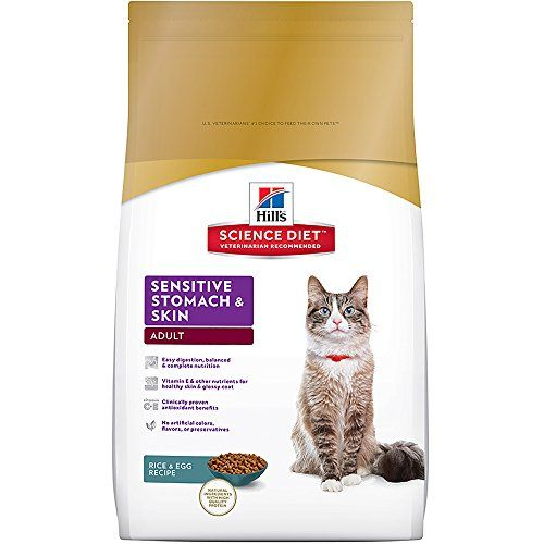 Hills Science Diet Adult Sensitive Stomach & Skin dry cat food provides precisely balanced nutrition for sensitive digestive systems and to improve skin and coat health.   Health Benefits:Stomach  Lif...