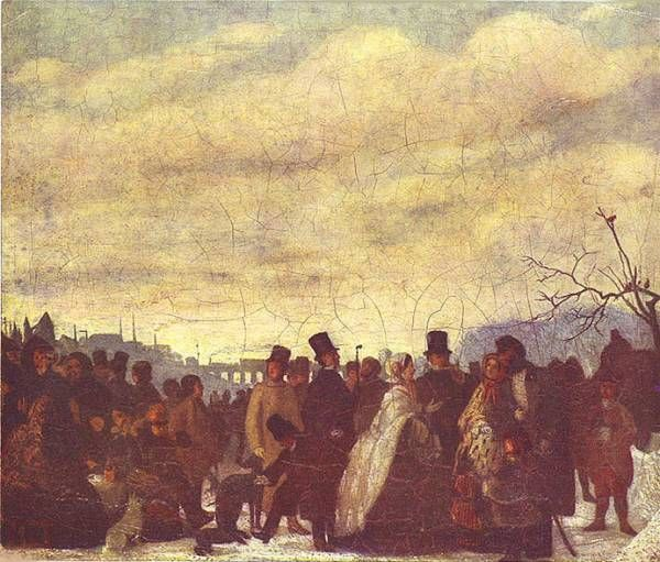 Karel Purkyně - Thurn-Taxis family on the ice (1858) #realism #painting #art #Czechia