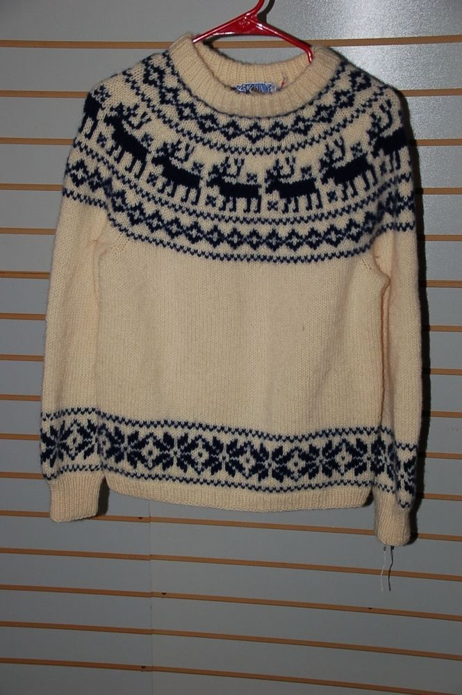 Vintage SUNDT Ivory-Blue Wool Pullover Sweater- Women's S #VintageSUNDT #ReindeerMotif