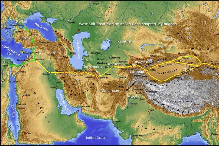 west Silk Road Map, Asia-Europe