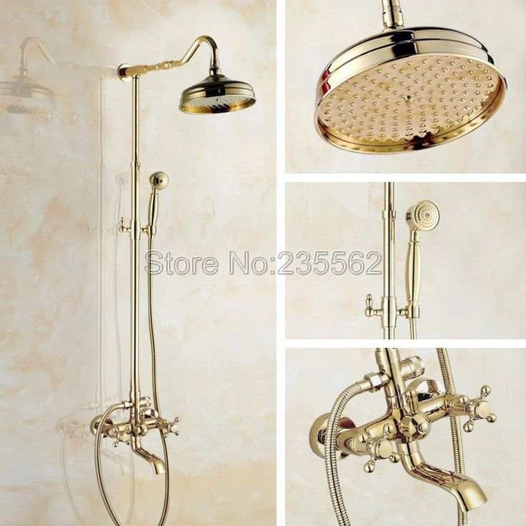 "High Quality Bathroom 8"" Rainfall Shower Faucet Set Gold Color Brass Dual Handle Wall Mounted Bath Shower Mixer Taps lgf661"