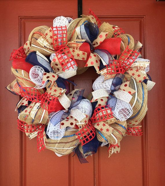 Corona patriótica, 4 de julio guirnalda, guirnalda de Memorial Day, guirnalda de verano, decoración patriótica, corona patriótica puerta, 4 de julio decoración