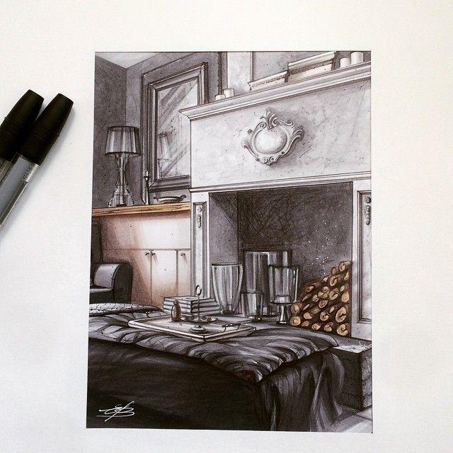 #sketch  #interior  #design  #marker #скетч  #маркеры  #интерьер  #дизайн…