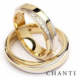 2 wedding rings in 14 carat gold and white gold 0,063 ct