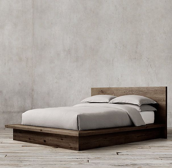 Reclaimed russian oak platform bed without footboard for Bed frame hangers