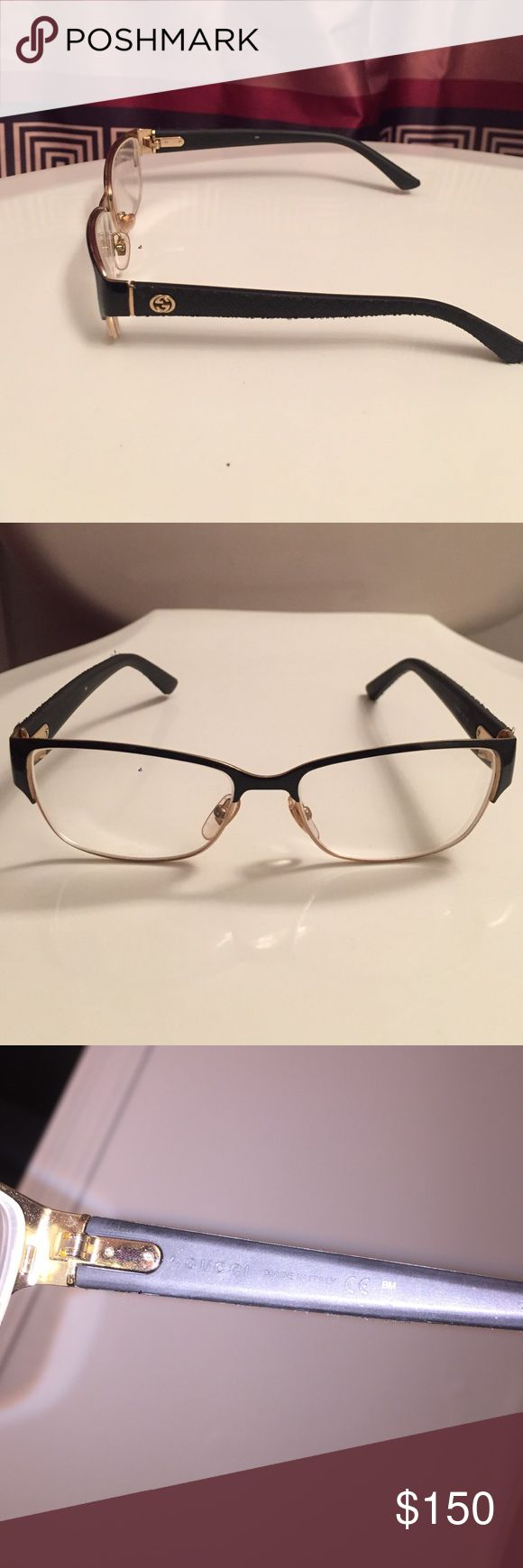 Gucci eyeglasses High end, high quality. Good condition. Very comfortable, fits well on any face size. I bought new glasses so I'm just trying to get rid if these. Gucci Accessories Glasses