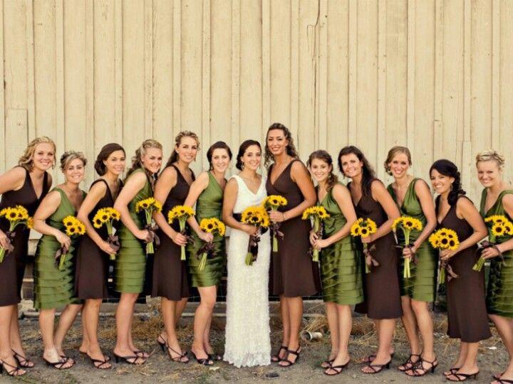 sage green, chocolate brown, & yellow wedding colors.