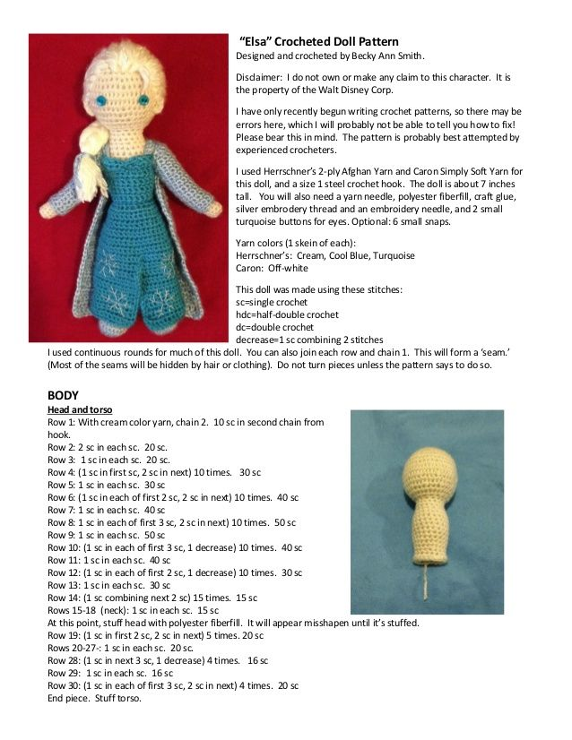 """Elsa"" Crocheted Doll Pattern  Designed and crocheted by Becky Ann Smith.  Disclaimer: I do not own or make any claim to t..."