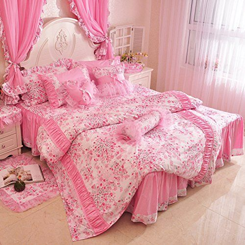 fadfay home textil rosa kirschbl ten bett design vintage blumenmuster kinder bettw sche fee. Black Bedroom Furniture Sets. Home Design Ideas