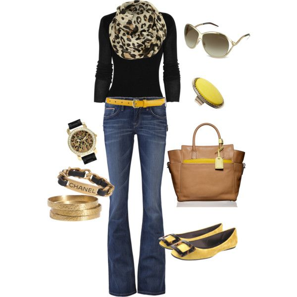 Love the yellow accent on this outfit. Yellow and Black POP!