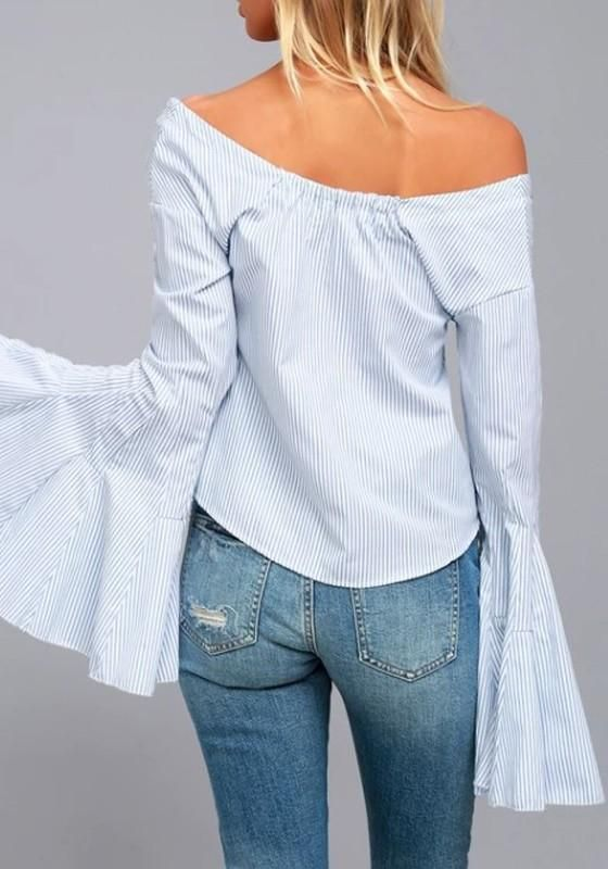 d80dff0ee9806b Blue White Striped Single Breasted Crop Boat Neck Casual Blouse