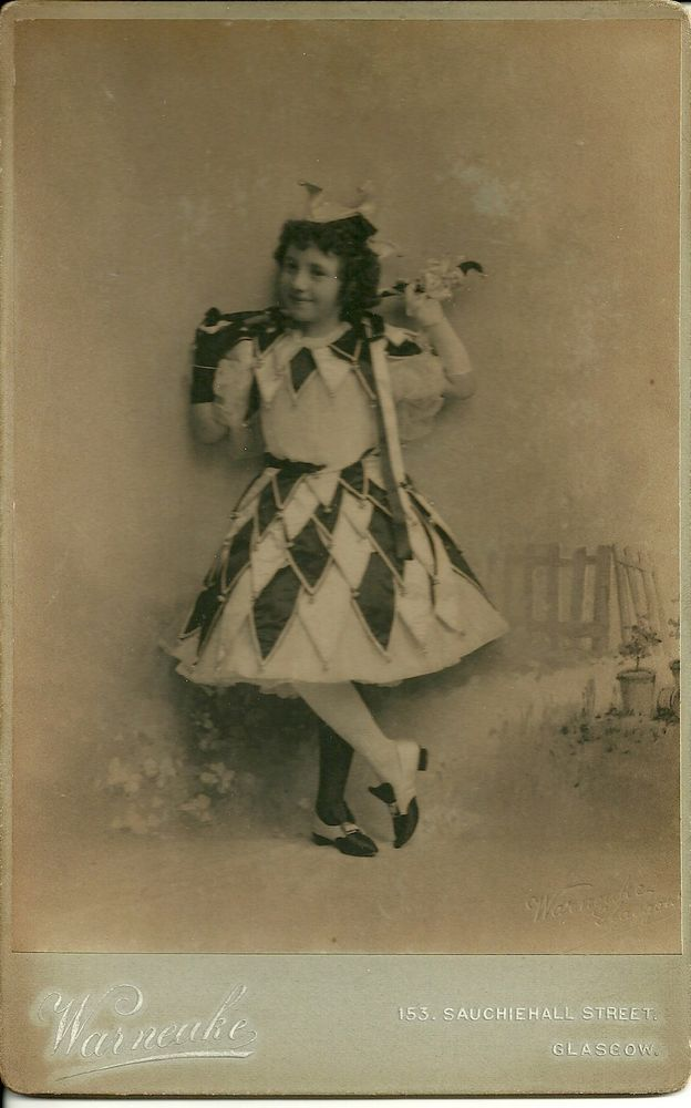 CABINET CARD Photograph Young Girl in Jester Outfit by Warneuke of Glasgow