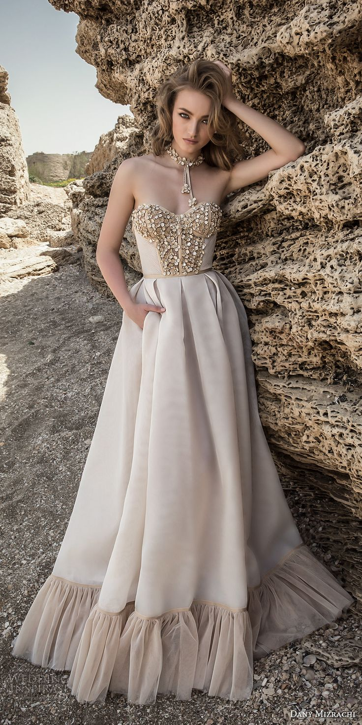 dany mizrachi 2018 bridal strapless sweetheart neckline heavily embellished bodice glamorous champagne color a  line wedding dress with pockets (18) mv -- Dany Mizrachi 2018 Wedding Dresses