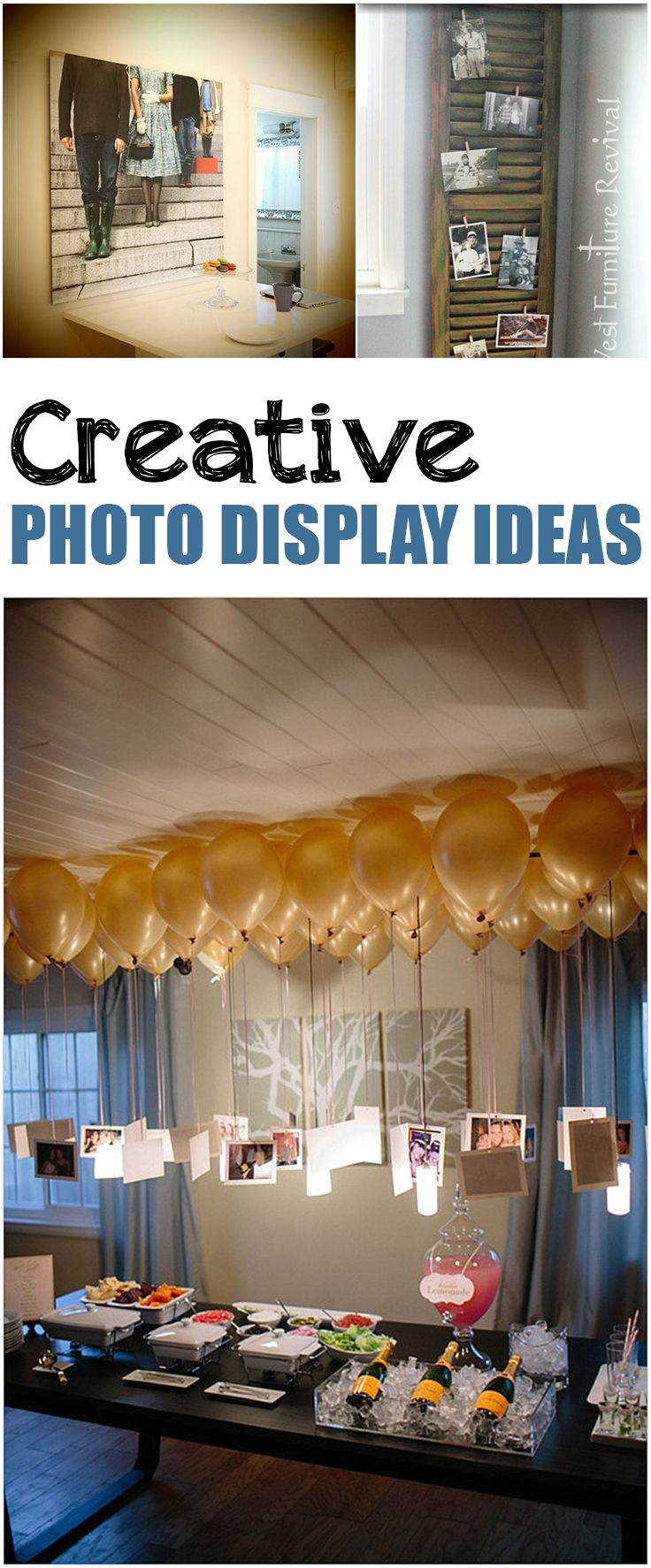 Fun photo display ideas. Great ideas and tutorials for how to display your pictures for parties or home decor.