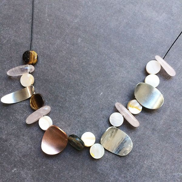 Silver Necklaces – Asymmetric copper, silver and real stones necklace – a unique product by Carla-Amaro on DaWanda