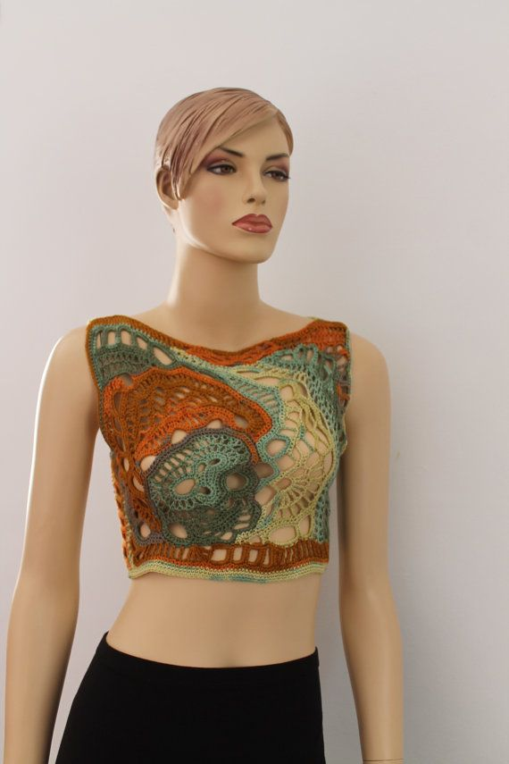 Chic Boho Hippie Multicolor  Freeform Crochet Tank - Top - Summer   - one of a kind - ready to ship