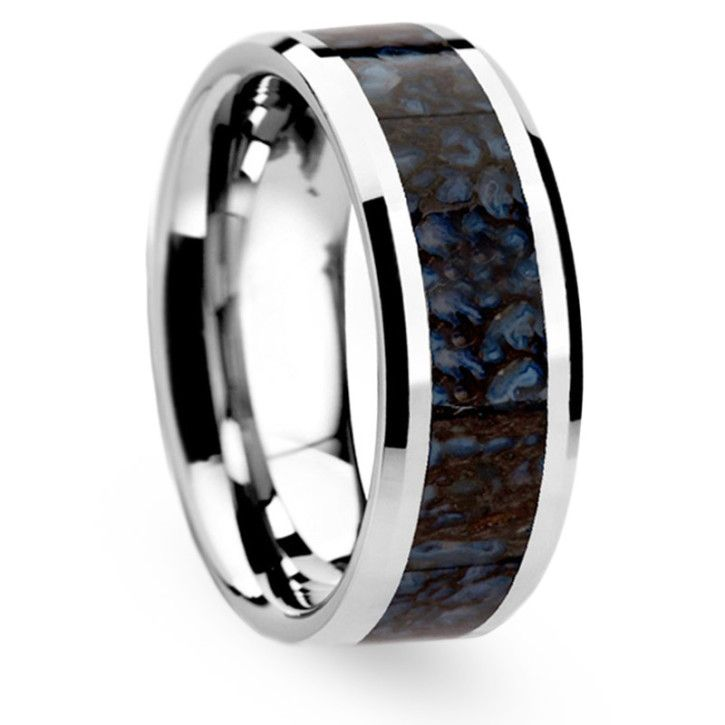 Tungsten Blue Dinosaur Bone Ring