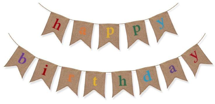 Banderole rustique de Joyeux anniversaire en toile de jute - Décoration d'anniversaire de première qualité par The Sterling James Company: Amazon.fr: Cuisine & Maison