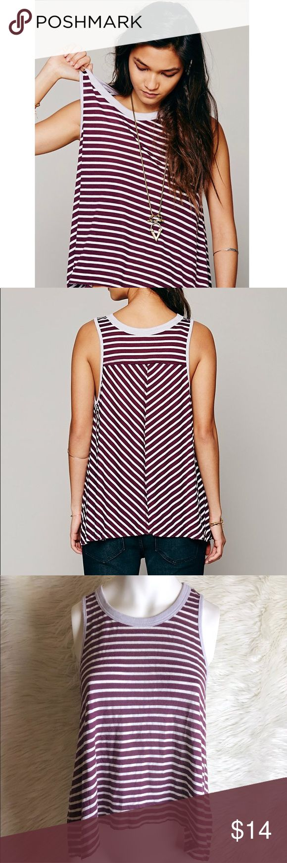 Free People We The Free Strike Out Tank Purple Free People We The Free Strike Out Tank in Purple, Pre Owned With No Flaws, Size Small, Length Front 18.5 Inches, Back 21 Inches, Armpit to Armpit 19.5 Inches Free People Tops Tank Tops