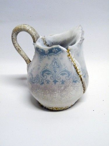 Embroidery with ceramics -Harriet Lawton